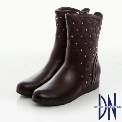 DN 街頭率性 牛皮菱紋縫線鉚釘內增高短靴-咖