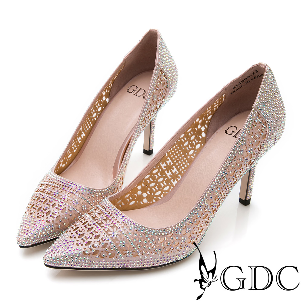 GDC-性感宴會必備簍空水鑽細跟尖頭鞋-粉色