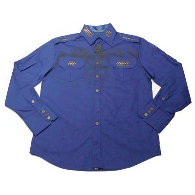 [摩達客]美國進口【Born Sinners】Sir Lucan 藍時尚長袖設計襯衫