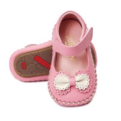 Swan天鵝童鞋-雙色蝴蝶結真皮學步鞋 1409-粉