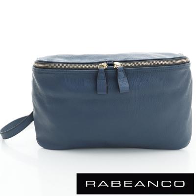 RABEANCO-迷時尚系列荔枝紋牛皮立體三角包-深藍