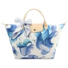 Longchamp Splash 花漾清新圖騰中型水餃包(短把/藍莓色)-加贈帕巾