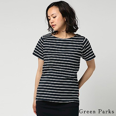 Green Parks 橫條紋船領短袖T恤