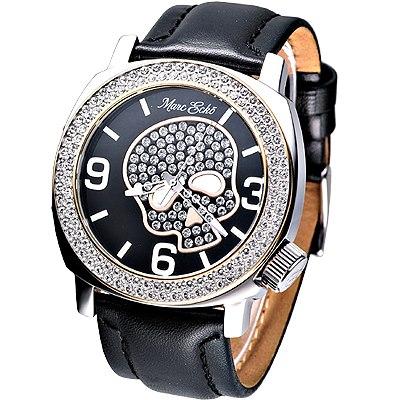 MARC ECKO 嘻皮龐克晶鑽骷髏時尚腕錶-黑/ 46 mm