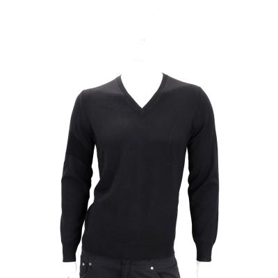 BURBERRY 黑色手肘格紋細節設計羊毛V領針織衫(100%WOOL)