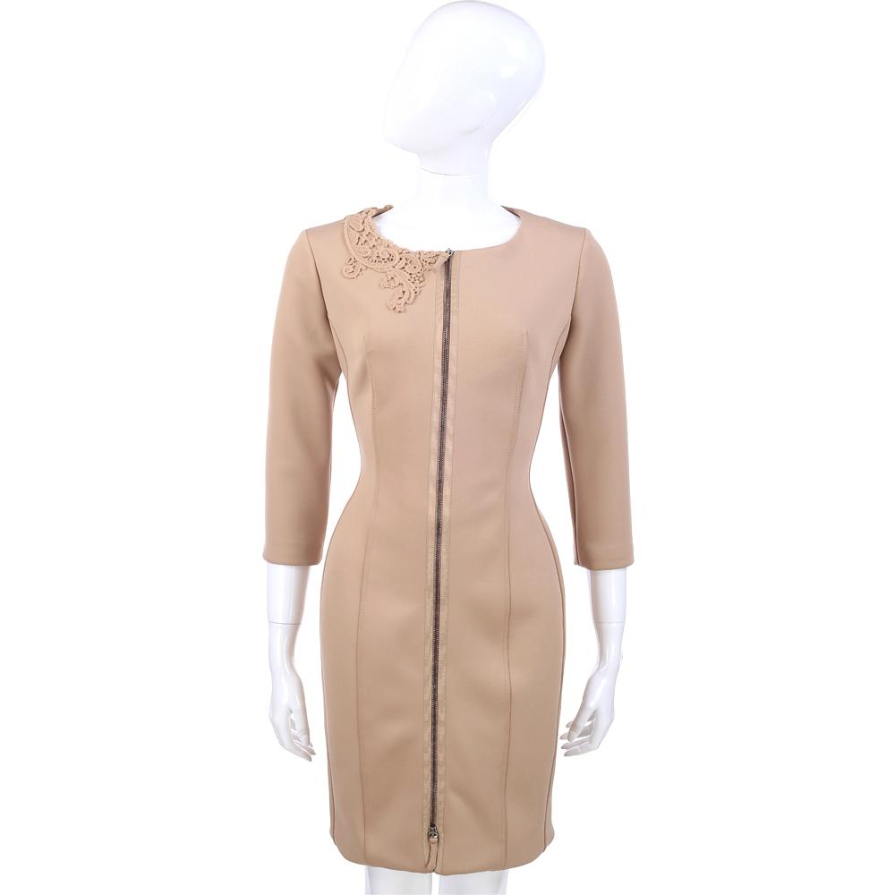 SCERVINO 卡其拉鍊造型七分袖洋裝