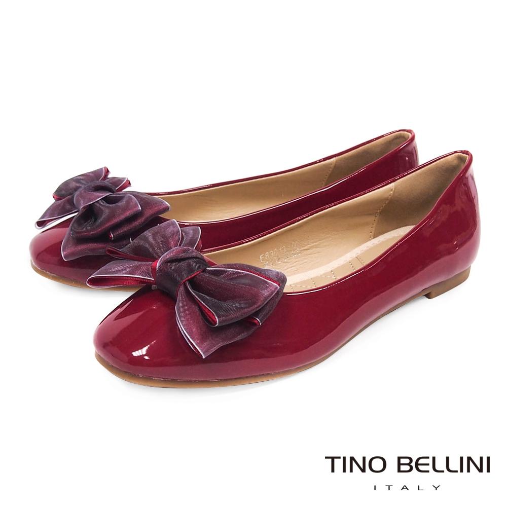Tino Bellini 層次緞帶蝴蝶結小方頭娃娃鞋_ 紅
