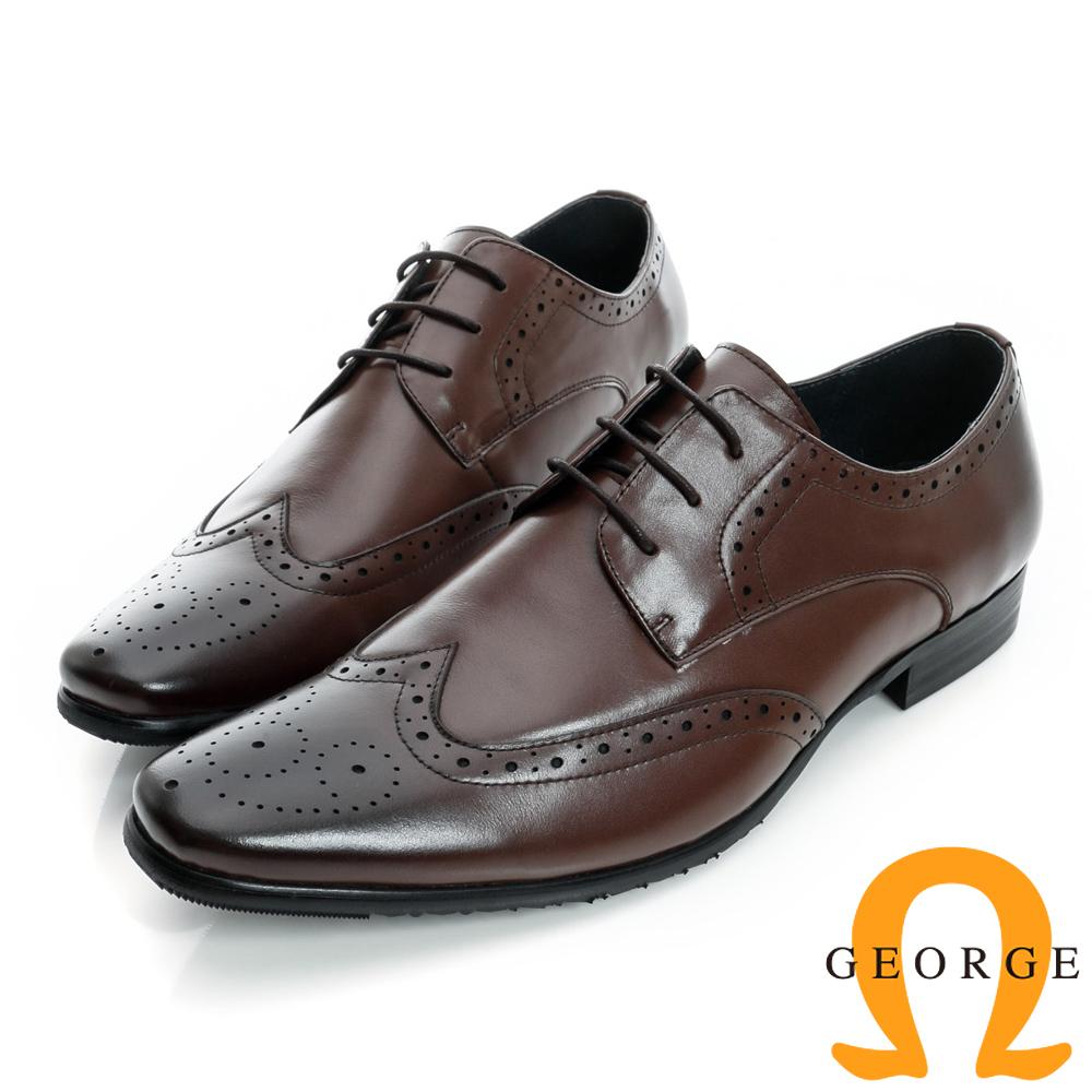 GEORGE-綁帶沖孔圖騰設計真皮牛津紳士鞋-咖啡色