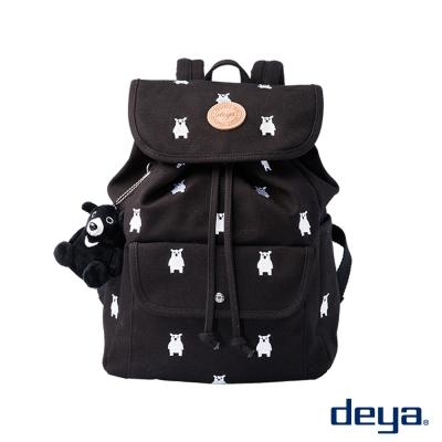 deya 熊森林系 MIT純棉帆布束口後背包  黑