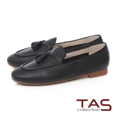 TAS 穿繩流蘇立體縫線樂福鞋-人氣黑