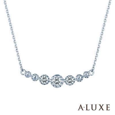 A-LUXE 亞立詩鑽石 Princess 典雅精緻白K金美鑽鎖骨鍊