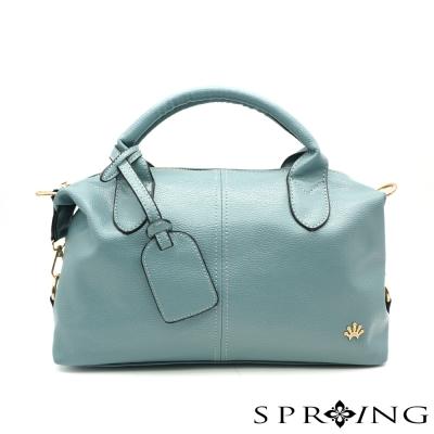 SPRING-Aurora歐若拉荔枝紋波士頓包-灰藍
