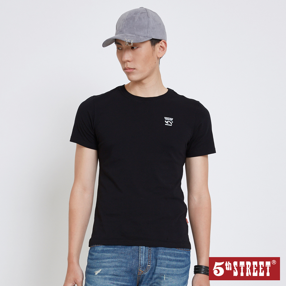 5th STREET 基本LOGO短袖T恤-中性-黑色