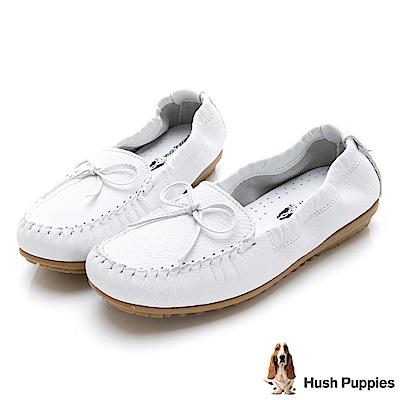 Hush Puppies 可彎曲豆豆底休閒鞋-白色
