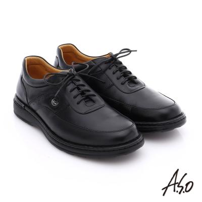 A.S.O 抗震雙核心 油感牛皮綁帶奈米氣墊休閒鞋 黑