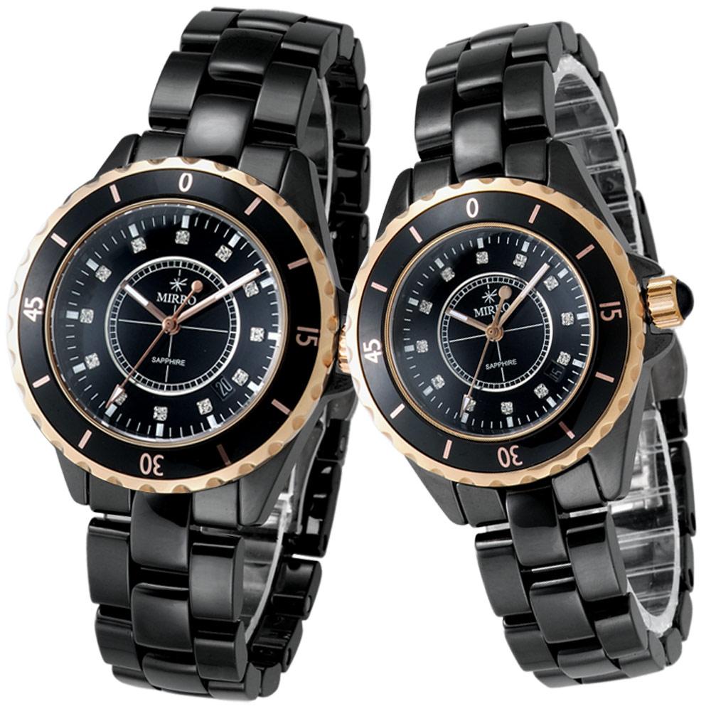 【MIRRO】金弦風雅精鑽陶瓷錶(黑)