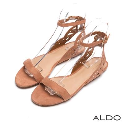 ALDO-原色波浪I字鏤空金屬鉚釘繫帶涼鞋-橄欖棕