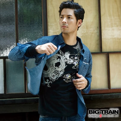 BIG TRAIN 和風舞雲龍羅紋束口長袖T-男-黑色