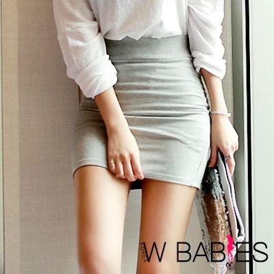 正韓 亮彩多色彈性包臀短裙 (共八色)-W BABIES