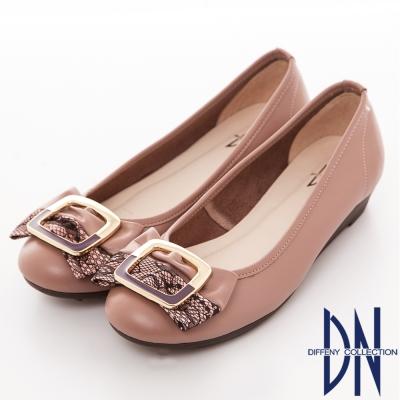 DN 典雅樂感 全真皮氣質蕾絲方扣舒適鞋 粉芋