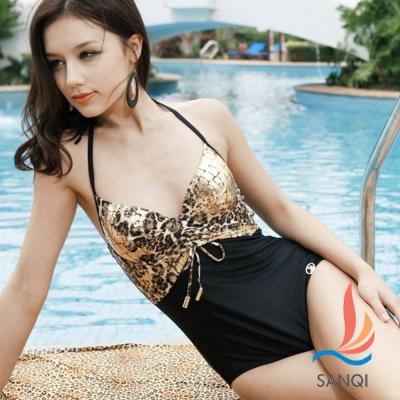 SANQI三奇 奢華貴族 一件式豹紋連身泳裝(金黃L.XL)