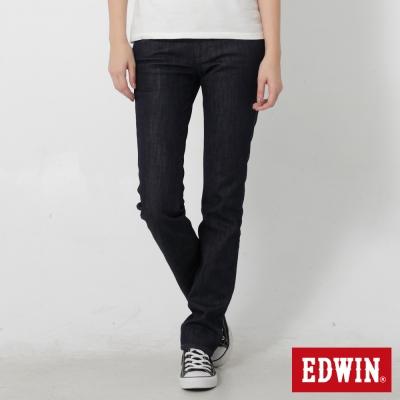 EDWIN 窄直筒EDGE紫格保溫牛仔褲-女-原藍色