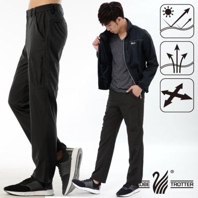 【遊遍天下】男款涼爽超顯瘦彈性多口袋吸濕排汗抗UV長褲P132深咖