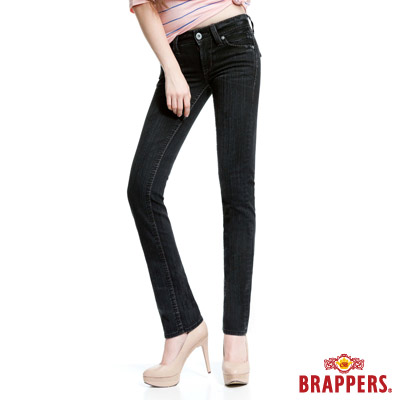 BRAPPERS 女款 新美腳Royal系列-女用彈性鑲鑽直統褲-灰黑