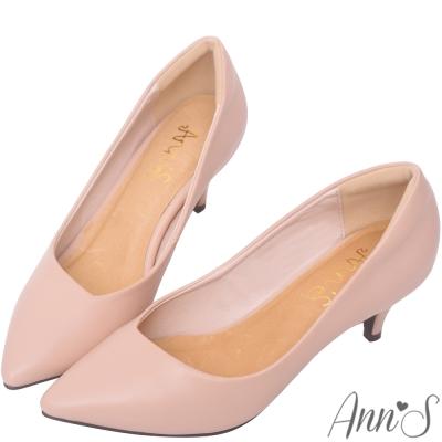 Ann'S漫步華爾滋-素色品味斜口低跟舒適尖頭鞋-粉
