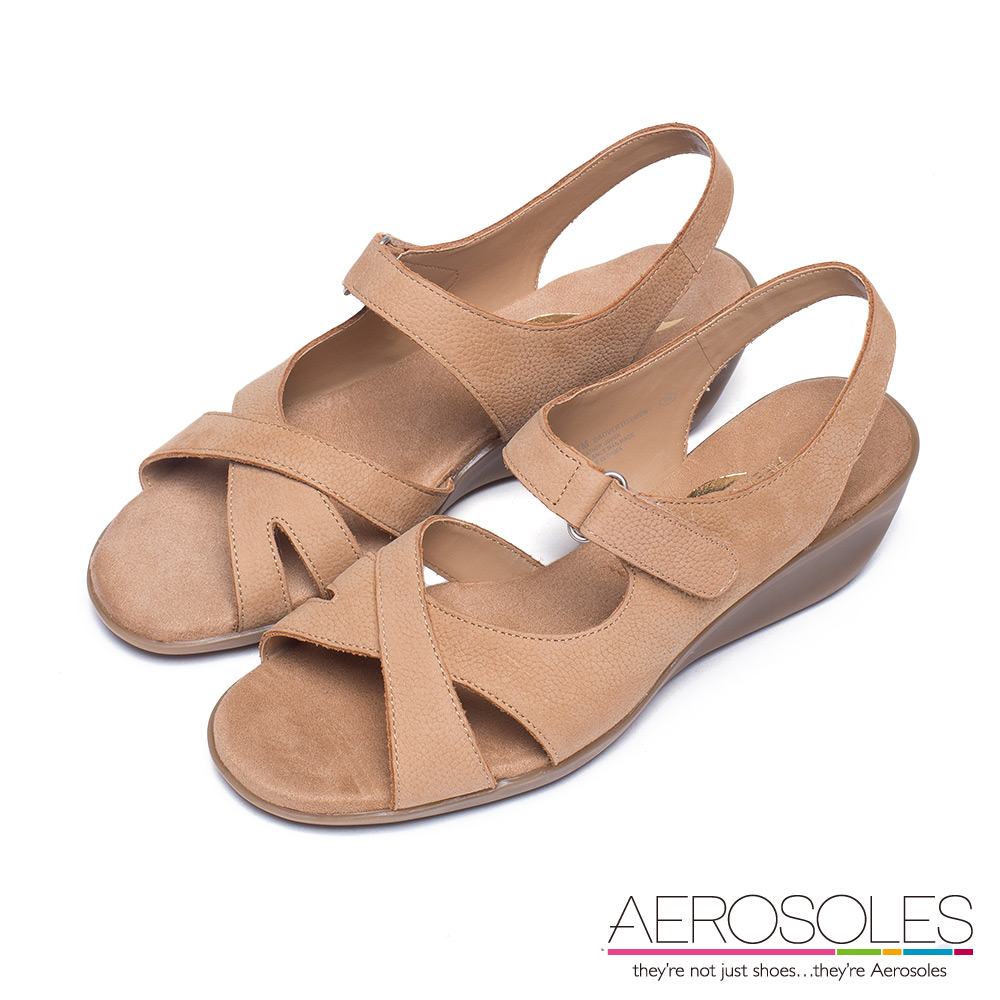 AEROSOLES 不對稱交叉繫帶小坡跟涼鞋~率性淺棕