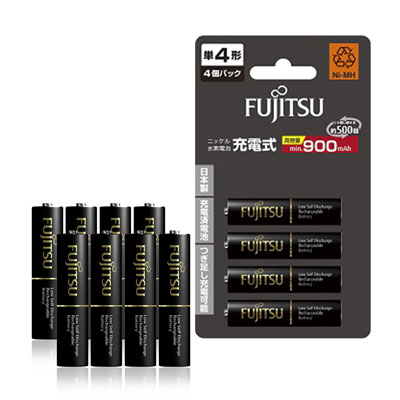 Fujitsu 低自放4號900mAh 鎳氫充電電池(8顆入)