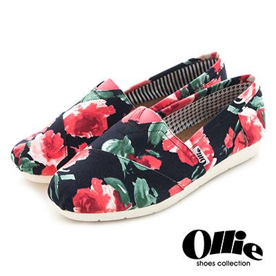Ollie韓國空運-正韓製粉嫩彩繪花朵碎花帆布懶人鞋-黑