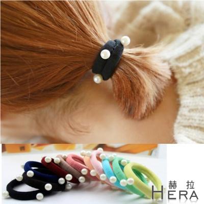 Hera 赫拉 珍珠寬版毛巾髮圈/髮束-5入組