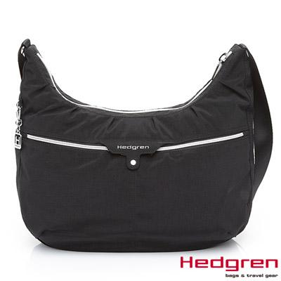 HEDGREN-HSUB-地鐵系列-前拉鍊加扣半月包-高貴黑
