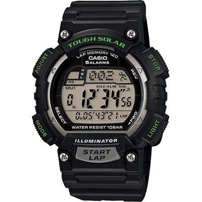 CASIO 卡西歐 Solar 太陽能運動錶-綠/51.4mm