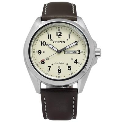 CITIZEN 秉持專業光動能錶(AW0050-15A)-米黃x咖啡/43mm