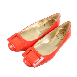Roger Vivier 經典方框亮漆皮平底娃娃鞋(橘色)