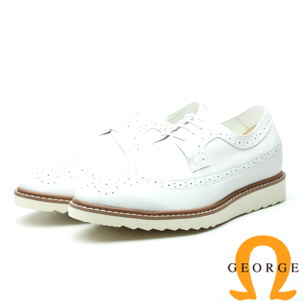 GEORGE 喬治-內增高系列 時尚雕花綁帶牛津鞋 休閒鞋 皮鞋 男鞋-白