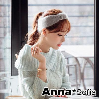 AnnaSofia-中央平蝶結-兩用款混兔毛彈性髮帶-淺灰系