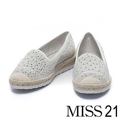 休閒鞋 MISS 21 異材質拼接精緻水鑽沖孔草編厚底休閒鞋-灰