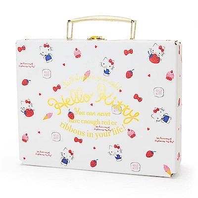 Sanrio HELLO KITTY幸福女孩系列第二彈精裝硬紙A5手提收納箱(甜蜜草莓)
