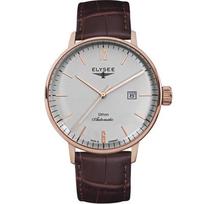 ELYSEE  Classic Sithon 復古放大紳士機械腕錶-玫瑰金色/ 42 mm