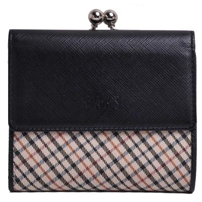 DAKS 經典品牌格紋字母LOGO防刮皮革珠釦式中夾(黑/卡其格)
