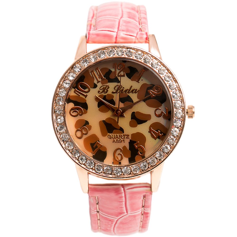 Watch-123  光芒盛開-野性聚焦華麗水鑽腕錶x粉紅色帶-豹紋/38mm