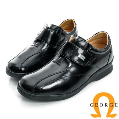 GEORGE-加厚底魔鬼沾真皮素面皮鞋-黑色