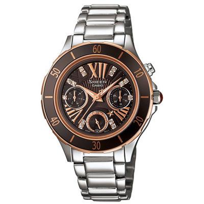 CASIO SHEEN系列 璀璨優雅三眼星空腕錶-咖啡-33mm
