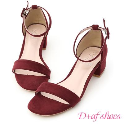 D+AF 夏日定番.一字繫踝方頭低跟涼鞋*紅