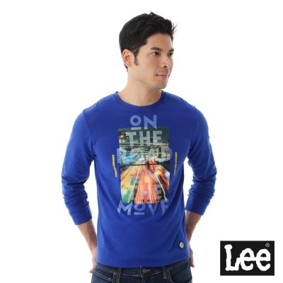 Lee URBAN RIDERS圓領圖騰長袖T恤-男款-藍