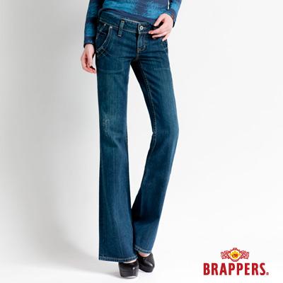 BRAPPERS 女款 女垮褲系列-中低腰大靴型褲-中藍