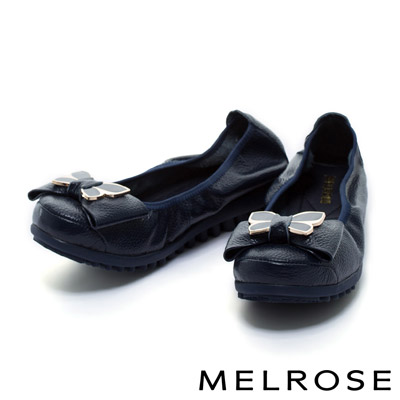 MELROSE-晶艷蝴蝶結飾釦荔枝牛皮厚底舒適鞋
